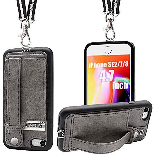 Toovren iPhone SE ケース 第2世代 【2020年新型】iphone8 ケース 手帳型 iphone7ケース tpu スマホケース アイフォンSE 耐衝撃 あいふぉん8ケース人気 ストラップ付き カードいれ 4.7インチ グレー