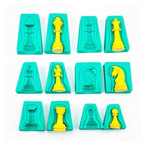 Yaoqshu Moldes de Resina 6 unids/Lote Torta de ajedrez de Silicona Fondant Molde Molde Herramienta DIY Herramientas Decoración de Chocolate Hecho a Mano para Hornear Creatividad (Color : LXW5043)