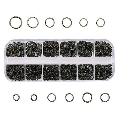 YUANMAO Anillos de salto 1030 unidades, anillos abiertos para pendientes, pulseras, collares, cadenas, tobilleras, proyectos de bricolaje negro