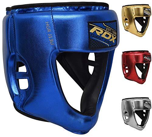 RDX Kinder Kopfschutz für Boxen, MMA Training | Junior Metallic Leder Kopfschützer für Boxtraining, Kampfsport, Kickboxen | Boxhelm für Sparring, Muay Thai, Karate und Taekwondo Headgear (MEHRWEG)