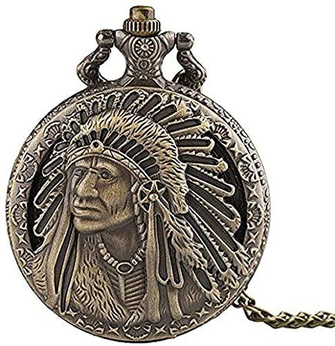 Collares Mujeres Hombres Reloj de Bolsillo Vintage Bronce Tallado Nativo Americano Viejo Hombre Retro Patrón Colgante Recuerdo Reloj de Bolsillo de Cuarzo Collar de Cadena Regalos