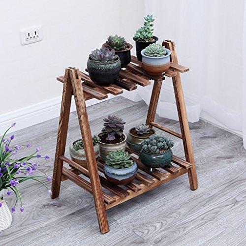 Porte Plante Antisepsis fleur en bois Racks jardin plante affichage pour plante Pots étagères pour salon bureau balcon L50 / 60/70 * D32 * H45cm Étagères à fleurs (taille : 60 cm)