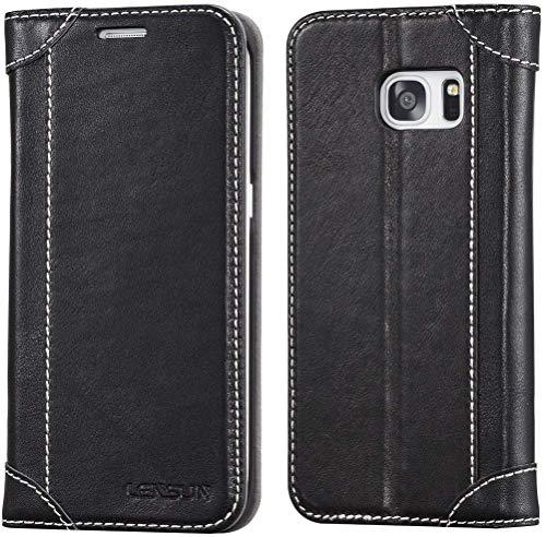 Lensun Cover Galaxy S7 Edge, Vera Pelle Cuoio Custodia Genuino Annata a Portafoglio Flip con Coperchio Frontale Magnetica per Samsung Galaxy S7 Edge 5.5' – Nero (S7E-DX-BK)