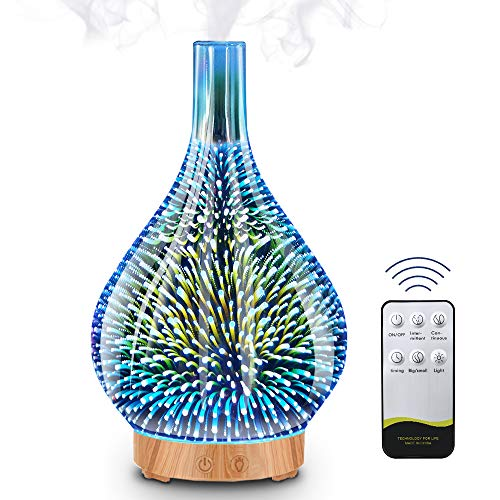 Difusor de Aceites Esenciales de Vidrio 3D, 200ml Difusor Aromaterapia con LED de 7 Colores y 4 Temporizadores,Humidificador Ultrasónico,Automáticamente Apaga Cuando sin Agua