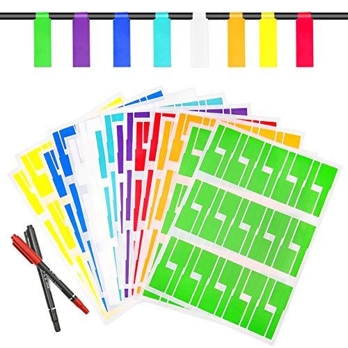 DONQL 480 Stück Kabel Aufkleber Kabel Etiketten Wasserdich Selbstklebend Kabelbeschriftung Selbstklebend Kabeletikett 8 Farben Geeignet für Familie Büro Zimmer