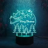 DeXin Xmas Atmosphere Decor Gift Tree Bombillas Multicolor Fantasy Change Decoración de la habitación de los niños LED con batería Touch Lámpara 3D Luz Nocturna