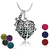 Maromalife Diffuser Pendant Necklace Love Heart Pendant Lava Stone Diffuser Necklace Essential Oil Necklace for Women 24 Inches Chain with 7 Lava Stone