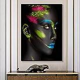N / A Mujer Pintura al óleo en la Pared Carteles e Impresiones Maquillaje Negro Imágenes de la Muchacha Vestidor Familiar Sala de Estar Retoque sin Marco 70x90cm