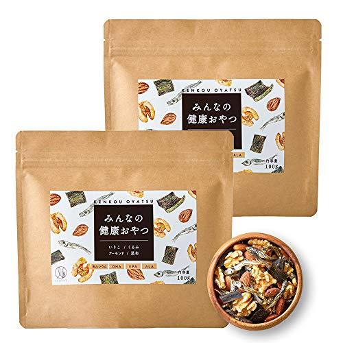 ナチュレライフ みんなの健康おやつ ミックスナッツ 100g おつまみ カルシウム DHA 小魚 アーモンド くるみ いりこ 昆布 子ども (2袋セット)