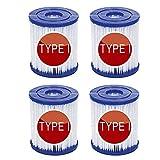 LALAGOU de Cartuchos de Filtro de Piscina para Bestway Tipo I,para Lay-Z-SPA para Miami,para Jacuzzi,filtros de Piscina inflables,reemplaza los Cartuchos de Filtro (4 Unidades)