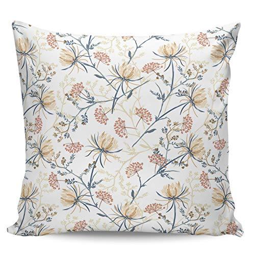 Scrummy Fundas de almohada de 50,8 x 50,8 cm, hermosa elegante rama de loto de la nieve, estilo retro ilustración, funda de cojín cuadrada para decoración del hogar