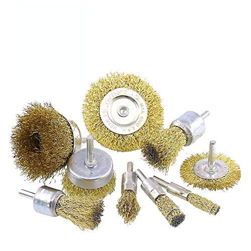 9 Pack Wire Brushes Brass Coated Wire Brush Wheel & Cup Brush Set Wire Drill Brush Set for Rust Corrosion Paint Removal
