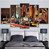 Decoración para el hogar Canvas 5 Panel New York Hotel Print Painting Wall Art For Living Room Imagen modular-16X24/32/40Inch,With Frame