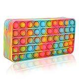 Estuche portátil para lápices Pop It, organizador de bolsas de papelería de oficina con burbujas sensoriales simples de silicona, para adolescentes, adultos, estudiantes, juguete Fidget(arcoíris)