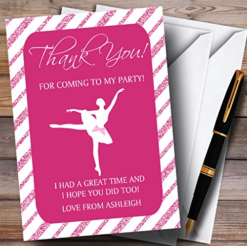 10 x Uitnodigingen Roze Glitter Strepen Ballerina Ballet Party Thank You Kaarten