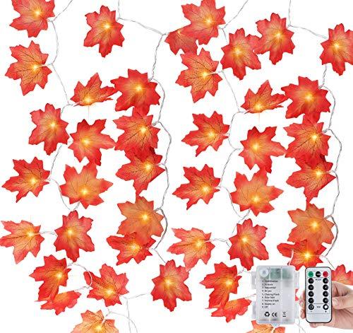 Anstore 2 Stück Ahornblätter Lichterketten,3M 30LED Herbstgirlande Herbst Dekoration Lichterketten, Herbst Ahornblatt Deko für Erntedankfest Deko& Weihnachtsbeleuchtung