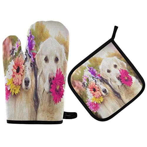 Sweet Dogs Flores Cabeza Boca Mitones para Horno Juego de agarraderas para ollas Guantes de Cocina Antideslizantes Guantes de Horno Lavables Resistentes al Calor para Hornear en microondas