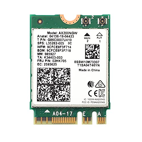 REKONG WiFi 6 AX200NGW M.2 2230 WiFi Network Card Dual Band 160MHz MU-MIMO 802.11AC AX 3000Mbps 2.4Ghz 5Ghz BT5.1 AX200 Wireless Adapter OFDMA Support vPro Miracast Only for Windows 10,64 bit