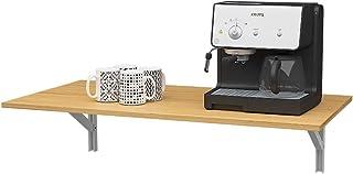 DlandHome Table Murale Rabattable 120 x 50CM Table Pliable de Cuisine en Bois, Établi Pliant Ajout Parfait au Garage et au...