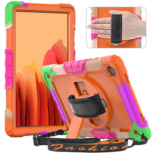 Timecity Kids Case for Galaxy Tab A7 10.4 2020 (SM-T500/T505/T507) with Screen Protector, Shockproof Protective Cover with Rotating Stand Hand/Shoulder Strap for Galaxy Tab A7-Orange (Multicolor)