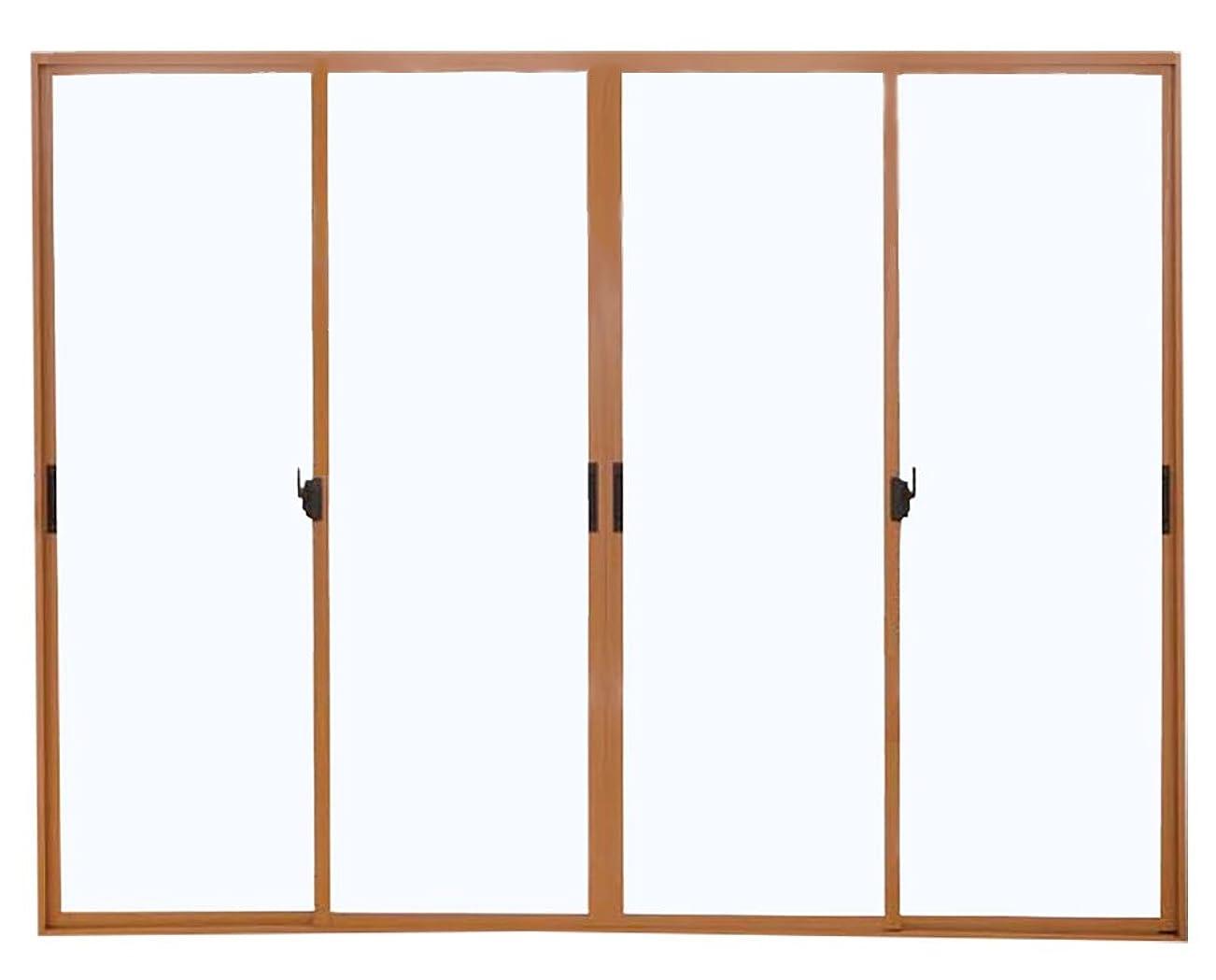 攻撃的キャンセル東メーカー受注生産品 4枚建 引違い窓 ポリカ 樹脂板 簡単すっきり内窓 楽窓 楽窓2 SEIKI セイキ販売 W2400mm×H1150mmまでサイズオーダー ポリカ-マットグリーン(3mm) 外ダークブロンズ?内ナチュラル