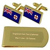 Select Gifts Nueva Gales del Sur Bandera Tono Oro Gemelos Money Clip Grabado Set de Regalo