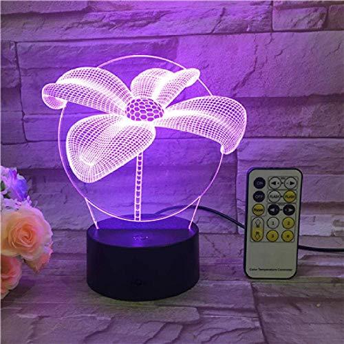 Lámpara De Ilusión 3D Luz De Noche Led Flor Usb Touch Switch & Amp;Lámpara De Mesa De Atmósfera De Degradado De Cambio De Color Con Grabado De Control Remoto De Acrílico