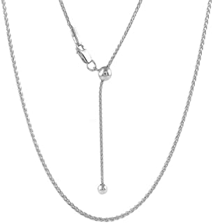 925 Sterling Silver 1.3MM Adjustable Wheat Chain Necklace, Bolo Necklace, Slider Necklace, Adjustable Fox Tail Spiga Necklace, Extends Up to 24 Inches, Sterling Silver Jewelry