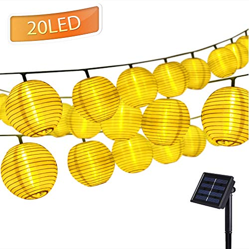 Solar Lichterkette Lampions 20er LEDs 3,3 Meter Außen Lichterkette Laterne, Solarbetrieben Warmweiß Wasserfest Dekoration für Garten Balkon Terrasse Hochzeit(Solar Laterne)