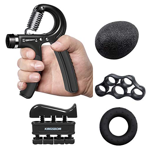 iToncs Hand Grip Strengthener Kit, 5 Pack Adjustable Resistance Forearm Grip, Finger Exerciser, Finger Stretcher, Grip Ring & Stress Relief Grip Ball for Training, Fitness