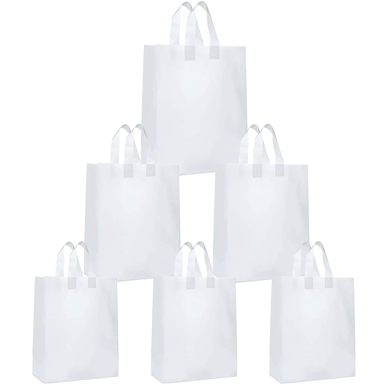150 Pieces Frosted Clear Plastic Bags with Soft Strap Handles, 3 Different Sizes Take Out Bags Present Shopping Bags with Cardboard Bottom Thick, 5 x 3 x 7, 8 x 4 x 10, 10 x 5 x 13 Inch