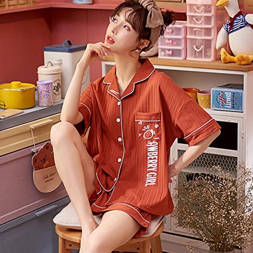 Mujer Pijama Estampado de Manga,Pijamas Cortos de Manga Corta de Verano, Conjunto de Dos Piezas de Servicio a Domicilio de algodón de sección delga,Manga Larga Franela Conjunto