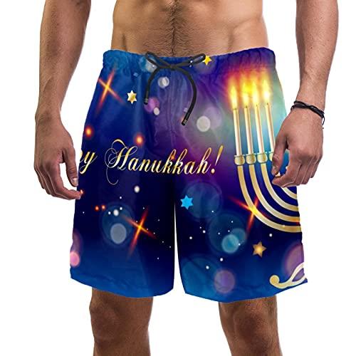 Pantalones Cortos de Playa de Verano para Hombre con Pantalones Cortos de Secado rápido con cordón de Cintura elástica con Bolsillos,Fondo Festivo con Estrellas Spinning Top Bokeh Lights