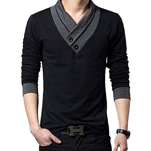 [ Make 2 Be ] スリム Vネック 長袖 半袖 Tシャツ カットソー ツートンカラー 綿100% スカーフ風 カジュアル シャツ MF01(01#Black, 03.2XL)
