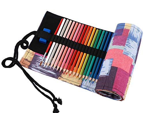 Abaría – Bolso de lapices bolsa de almacenamiento hecho de mano, sandias 36 agujeros