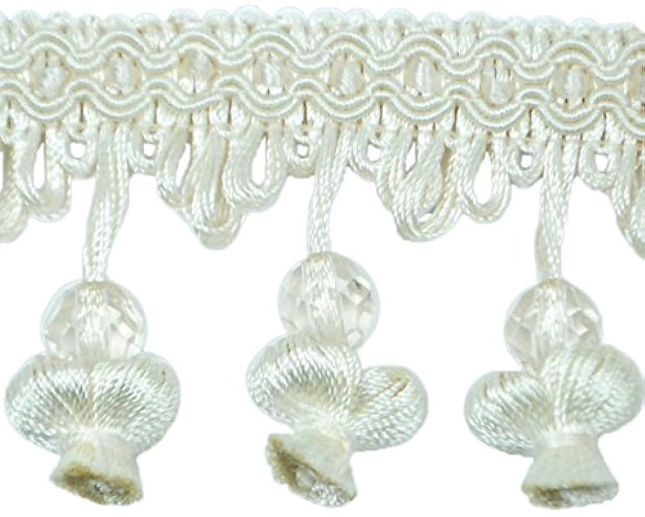 Expo International Stacia Onion Tassel Bead Fringe Trim Embellishment, 20-Yard, Ivory