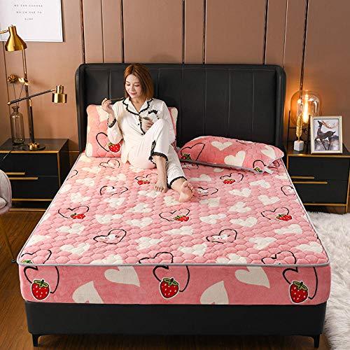 LCFCYY SábanaCama,Sábanas Gruesas de Lana de Coral, Funda de Almohada cálida para colchón de Dormitorio para Cama Individual Doble King G 120x200cm (3pcs)