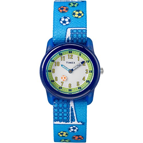 of disney watch bands dec 2021 theres one clear winner Timex Boys TW7C16500 Time Machines Blue Soccer Elastic Fabric Strap Watch