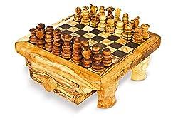 ARTE LEGNO SPELLO SRL Arte Holz Spello SRL Schachbrett mit Schach und Schublade-Schach aus Olivenholz cm 35x 35