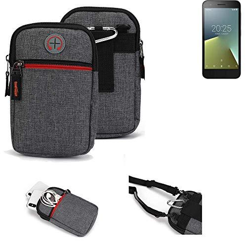 K-S-Trade® Gürtel-Tasche Für Vodafone Smart E8 Handy-Tasche Holster Schutz-hülle Grau Zusatzfächer 1x