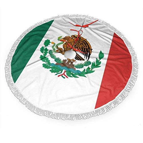 JOOMI Falda de árbol de Navidad con Estampado de Bandera de México con Borla para decoración navideña, decoración navideña, Suministro de Fiesta de año Nuevo (36 Pulgadas)