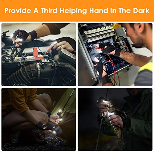 Product Image 4: LED Flashlight Gloves Men Gifts, Light Gloves Tools Gifts for Men, Women, Fingerless Hand Light Gadgets for Fishing, Car Repairing, Camping, Cool Birthday Mechanic Gifts for Guy, Fathers Day Dad Gifts