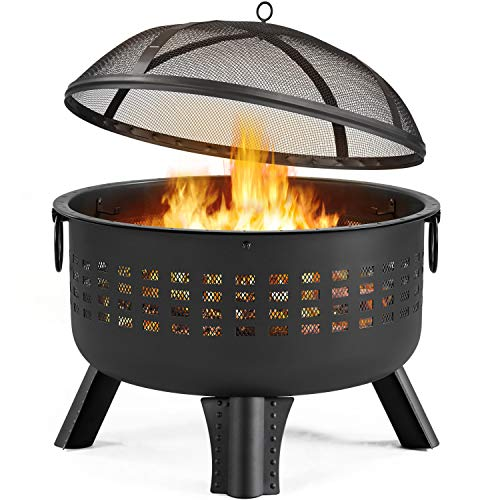 YAHEETECH Fire Pit 25in Heavy Duty Iron Firepit Steel Round Fire Bowl Wood Charcoal Burning with Lattice Pattern for Patio & Backyard