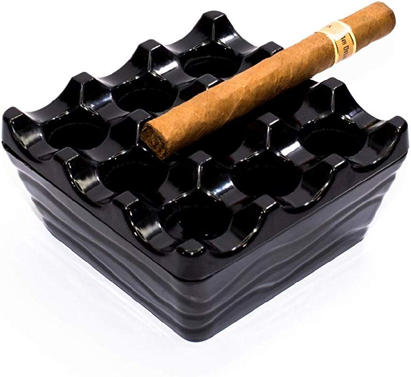Kulsan Windproof Cigar Ashtray With Lid Outdoor Ashtrays For Patio Resin Near Black