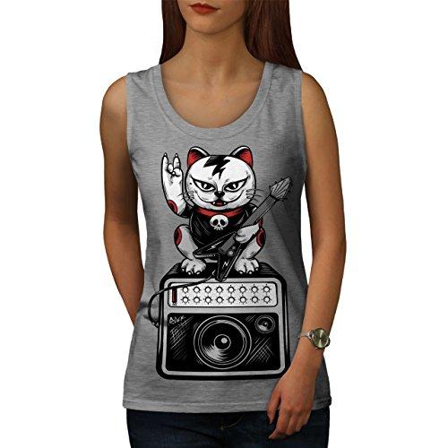 wellcoda Katze Kätzchen Rock Star Frau Tank Top Musik Athletisches Sport-Shirt
