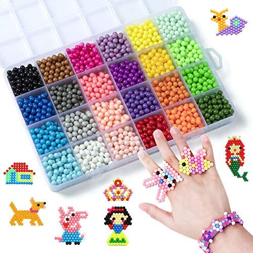 ZWOOS Juego de Cuentas de Agua, 3000 Perlas Kit Abalorios 24 ColorsFusible Beads Kit de Abalorios de Agua para Niños DIY Accesorios Educativos de Artesanía para Niño Niña Principiantes
