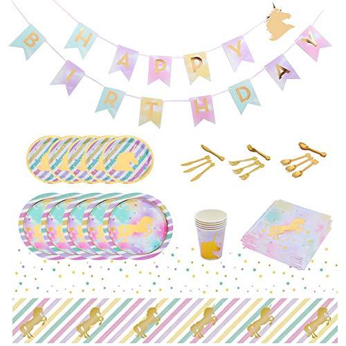 Ototon - Juego de 73 platos desechables para mesa con diseño de unicornio, vajilla desechable para cumpleaños, fiestas, bodas