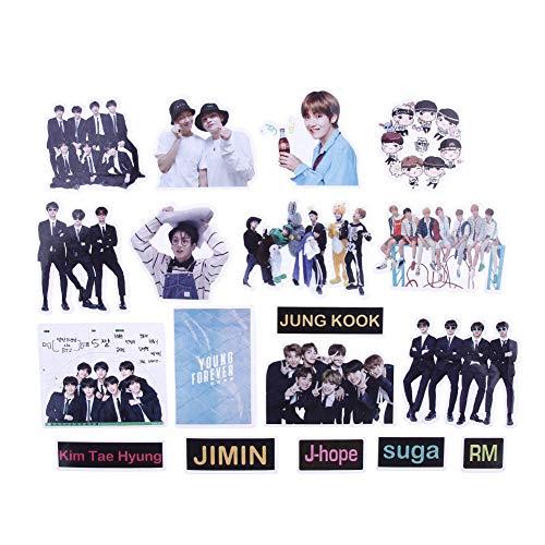 ALTcompluser Kpop BTS Bangtan Boys Stickers Wasserdicht Aufkleber Vinyl Aufkleber für Laptop, Macbook, Gepäck, Skateboard (19 Stücke)