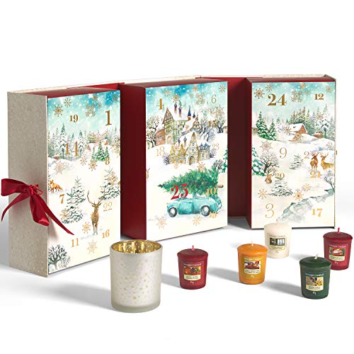 Yankee Candle calendario dell'avvento | Confezione regalo con candele profumate natalizie | 12 candele sampler, 12 candele tea light e 1 porta candela sampler | Collezione Magical Christmas Morning