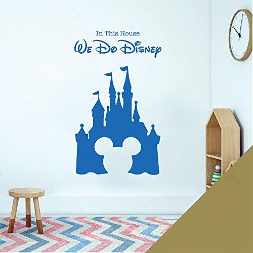 Sticker mural pour chambre d'enfant Motif château Mickey Mouse Doré